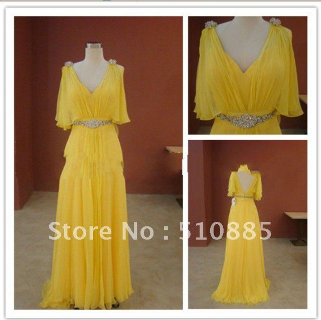 Best-sell free shipping Unique real sample silver beadings belt and yellow chiffon short sleeve evening dress