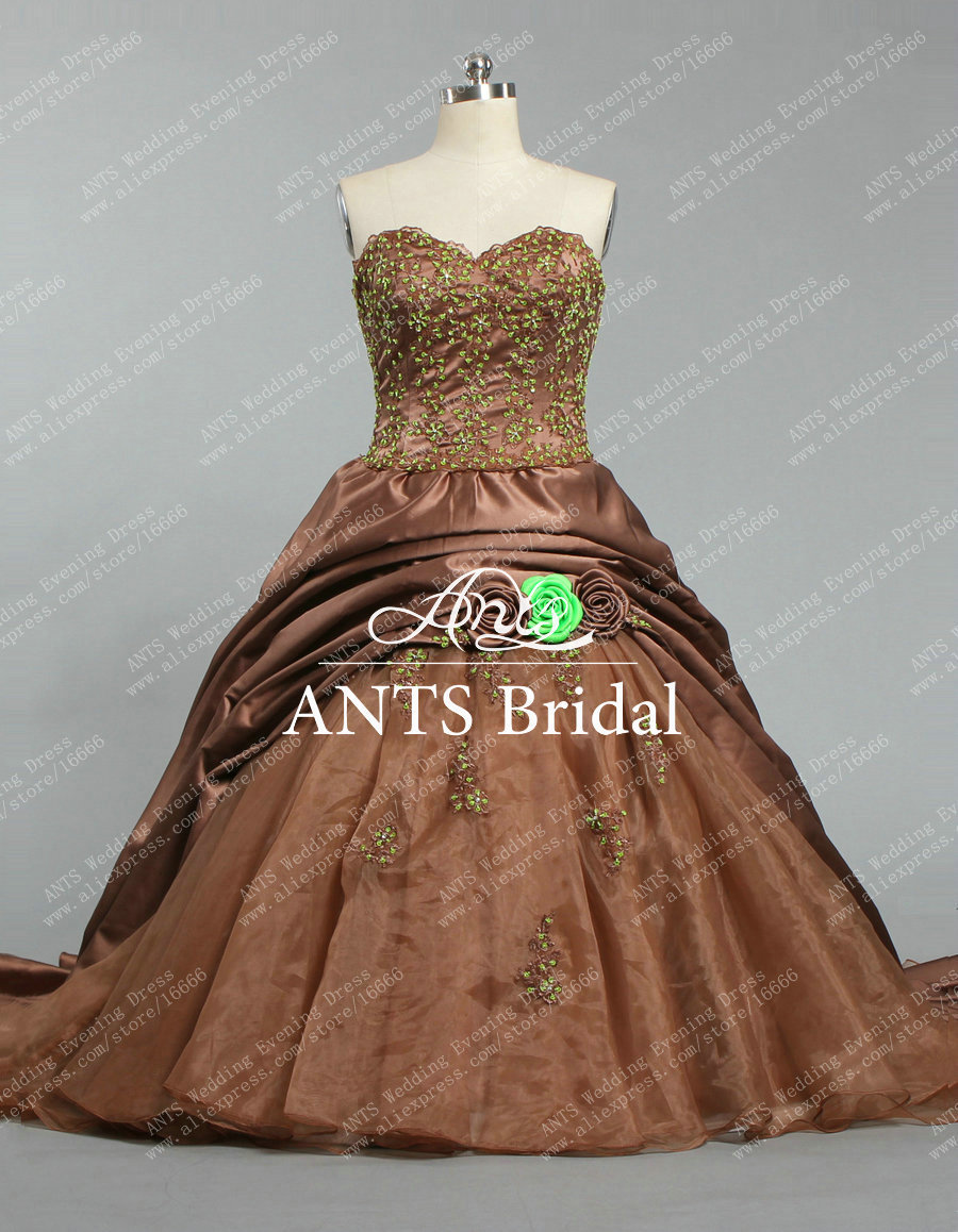 W1336 bridal stylish green bead and flowers satin brown for Brown dresses for wedding