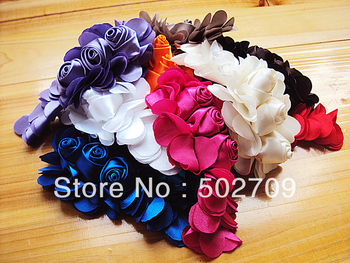 New Design Quantity Satin Fabric Rose Flowe Shoes Buckle Flowers Baby Girls Headband Hair ornament Bridal Garment accessories