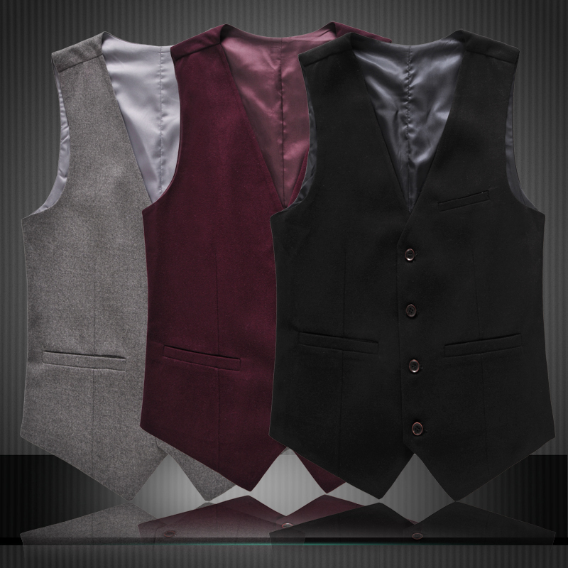 2015 Autumn New Vests Men Fashion Brand Waistcoat Male Casual Slim Fit Suit Vests Men Plus Size 3XL 4xl 5xl 6xl 3 Colors