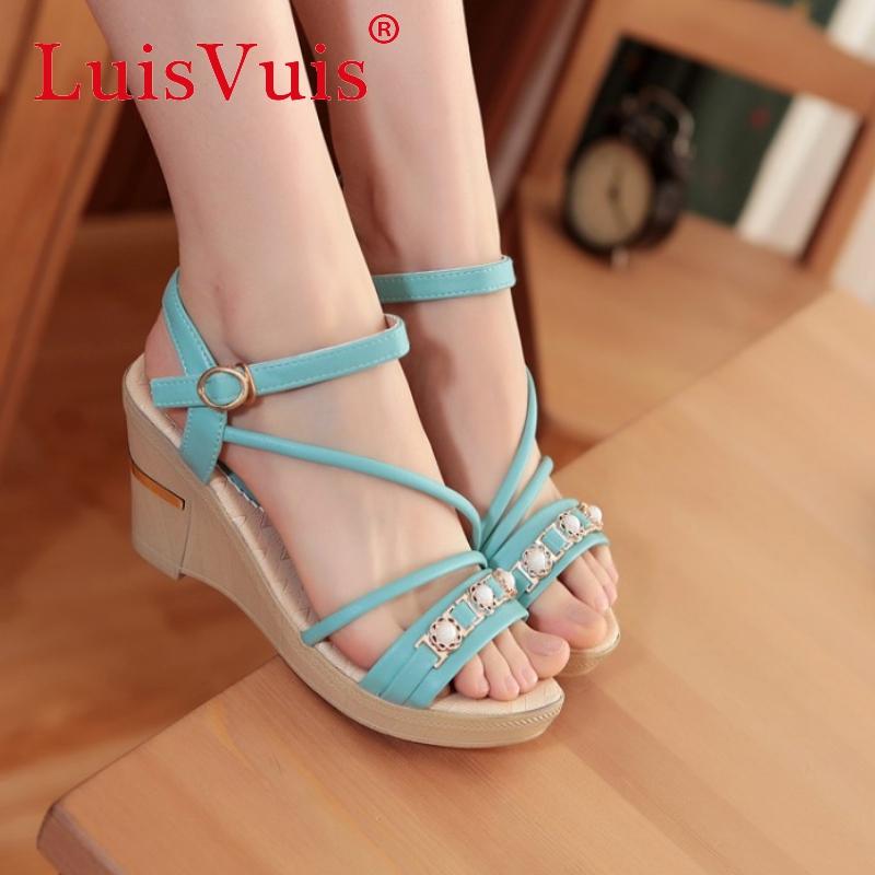 women cross strap platform wedge high heel sandals brand sexy fashion lady heeled footwear heels shoes size 35-39 P18465