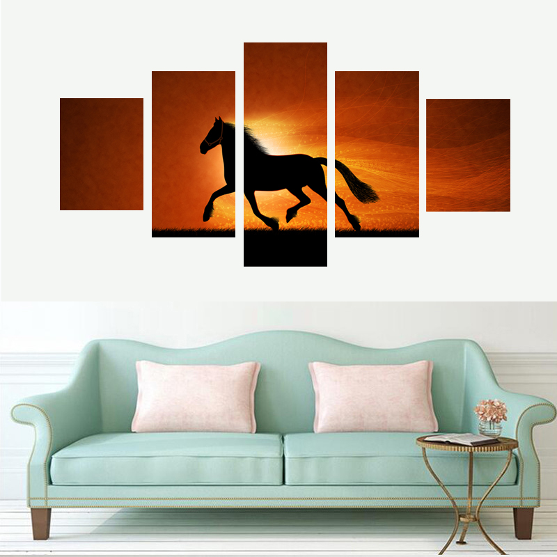 5 Pieces/set Running Horses in the Sun Set Home Decor Wall Art Pictures NO Frame On Canvas Prints Decorative Paintings Unframed(China (Mainland))