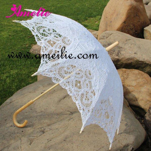 Free Shipping Cotton Sun Batten Victorian Lace Parasol Umbrella(China (Mainland))