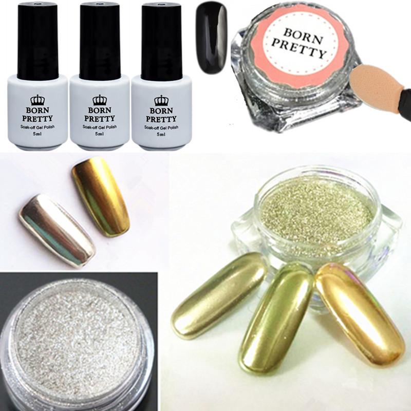 6pcs/set Shiny Mirror Nail Glitter Powder Black UV Gel with Brush Nail Art Chrome Pigment(China (Mainland))