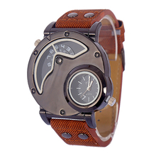 Luxury Genuine Leather Men's Business Watch Double Time Zone Men Fashion Sport Quartz-watch Steam Punk Casual Wristwatch Relojes