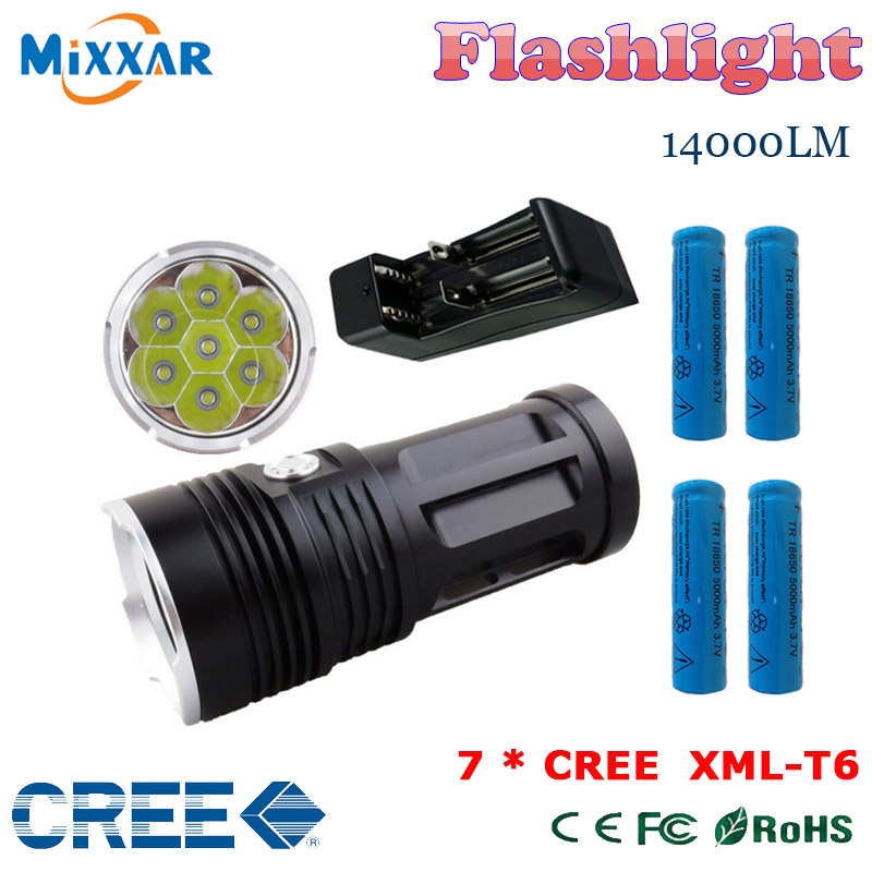 zk50 led flashlight MI-7 14000 lumen Torch 7x Cree XM-L T6 Camp Hunting tactical Lantern and 4x18650 battery, one charger <br><br>Aliexpress