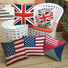 Union Jack US Flag Cushion Cover