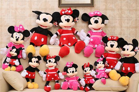 Disney Minnie Mickey Mouse Short plush toy doll 35cm Children's Day birthday gift girls creative wedding Red Pink Black(China (Mainland))