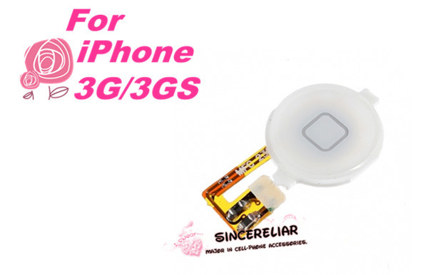 White Color For iPhone 3G Home Button With Flex Cable Assembly(China (Mainland))