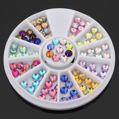 12 Color 3D Nail Art Tips gems Crystal Glitter Rhinestone DIY Decoration Wheel(China (Mainland))