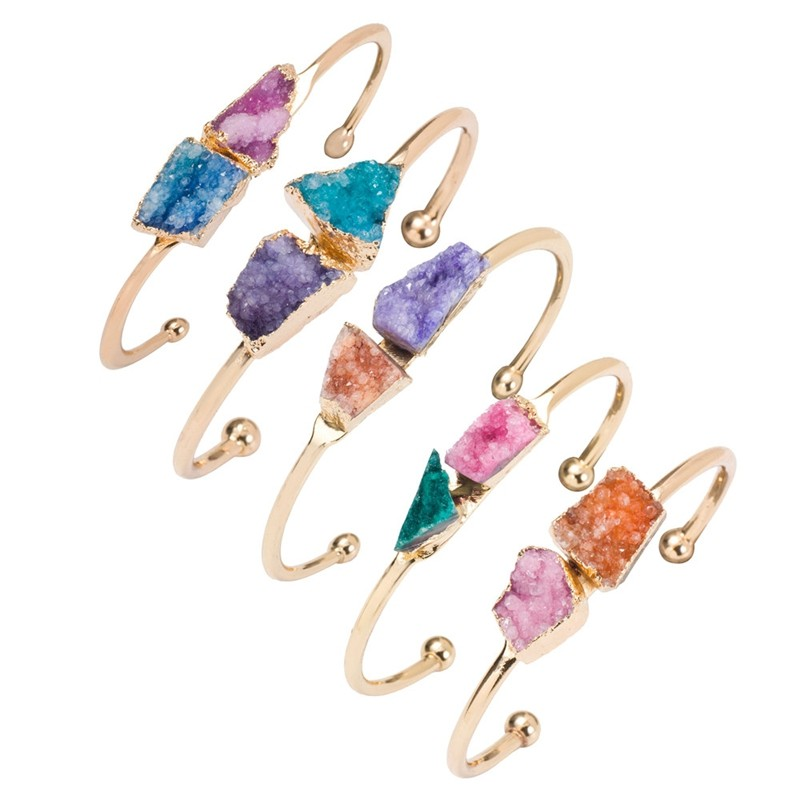 New Fashion 2015 Crystal Natural Stone Bracelet Bangles for Women Natural Druzy Stone  Gold Plated Cuff Bangle