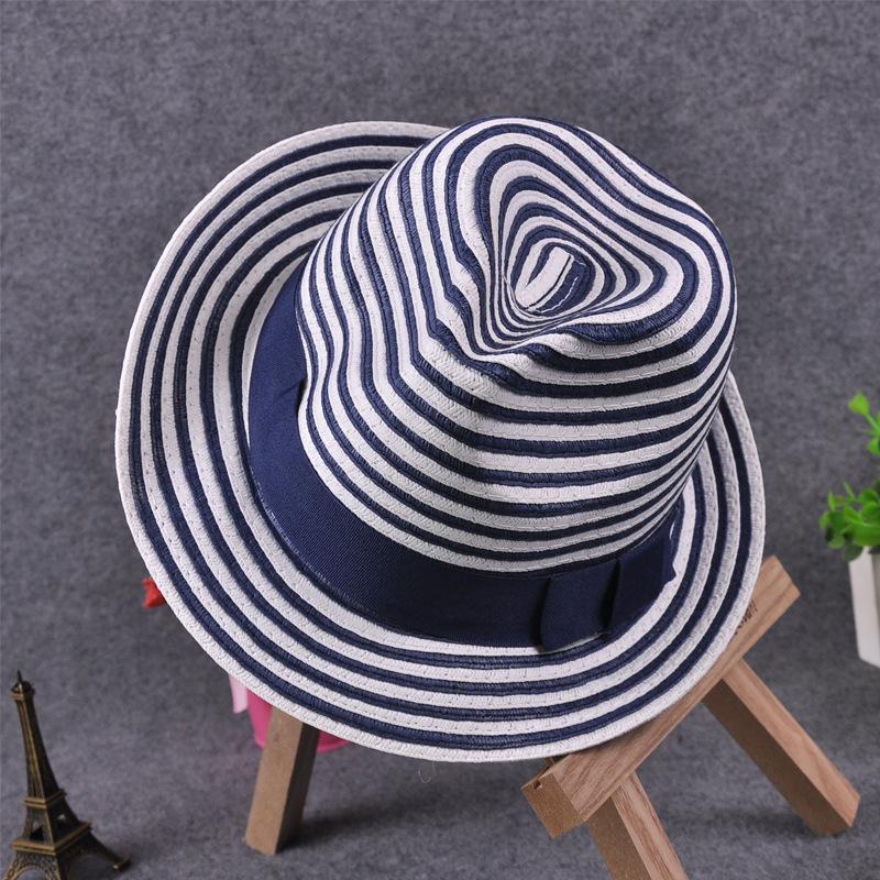 summer fashion women striped straw hat bow blue fedora hat beach jazz church lady elegant cap outdoor casual sunscreen Chapeu(China (Mainland))