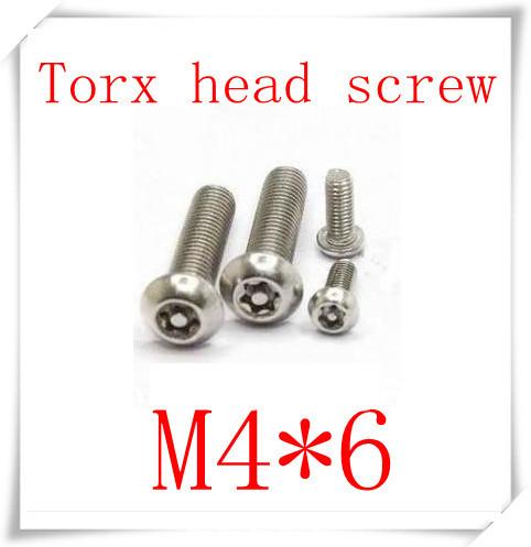 100pcs/ lot  High Quality Stainless Steel 304  M4*6 mm CSK Half Round Head Torx  Machine Screw, 6-Lobe Screw Anti-Theft Bolt<br><br>Aliexpress