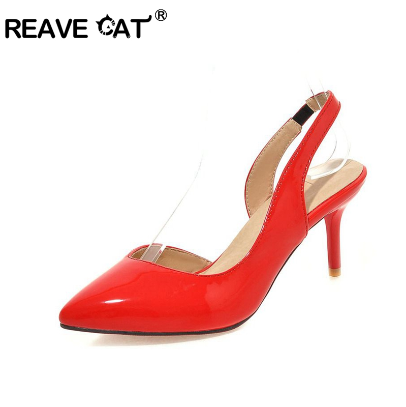 New Slingback Ladies Med heels sandals Women's shoes Big size 34-43 Summer Party Pointed toe Black White Red Silver Thin heel(China (Mainland))