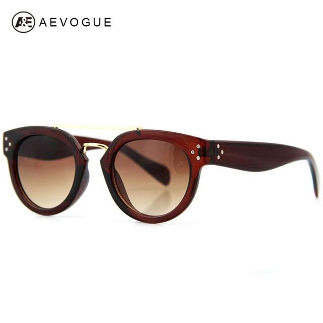 Aevogue марка дизайн солнцезащитные очки женщин Высокое качество двойной мост дизайн 3 металл ногтей украшения солнцезащитные очки UV400 AE0114