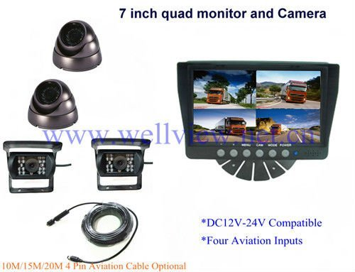 7inch Vehicle Quad Reverse Monitoring System,with 4 CCD cameras,12v~24v Compatible