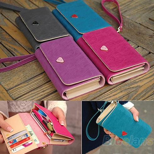 Women Lady Fashion Accessories Envelope Card Coin Wallet Leather Purse Case Cov