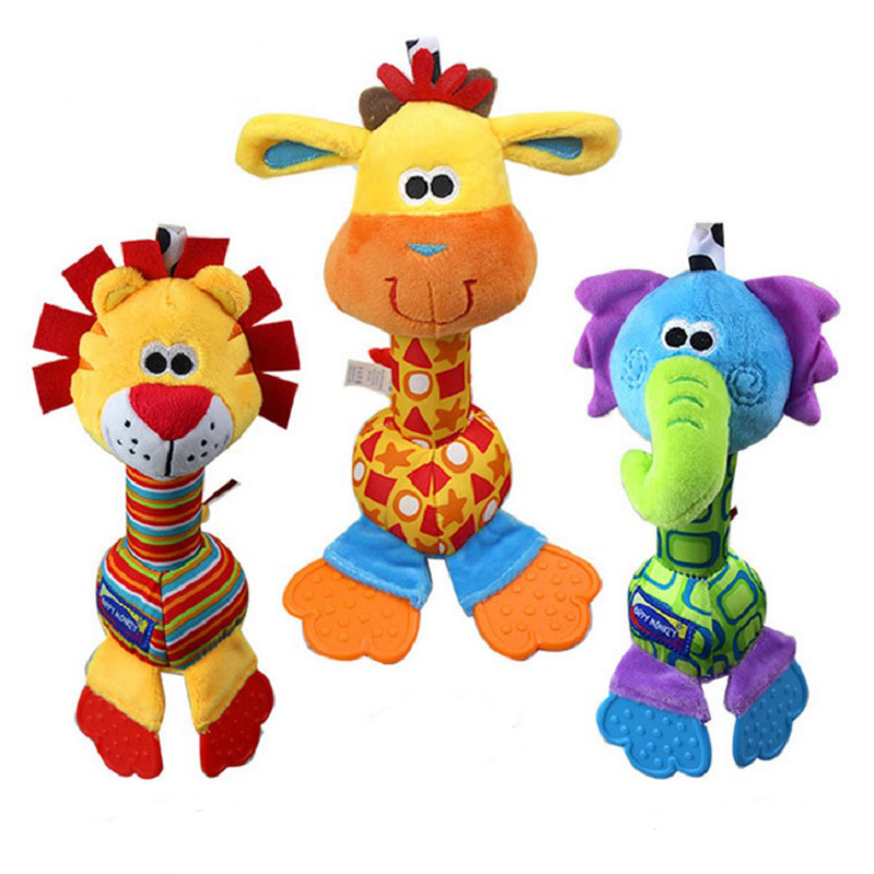 1pc Soft Baby Toy 22cm Cartoon Animal Teether Rattle Squeaker BB Sounder Early Educational Doll(China (Mainland))