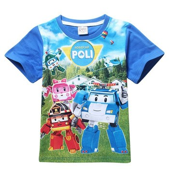 Мальчики и девочки футболки POLI ROBOCAR комикс дети лето футболки дети