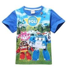 2015 new arrival boys and girls t-shirt POLI ROBOCAR Cartoon Kids summer T-shirt Kids Free Shipping(China (Mainland))