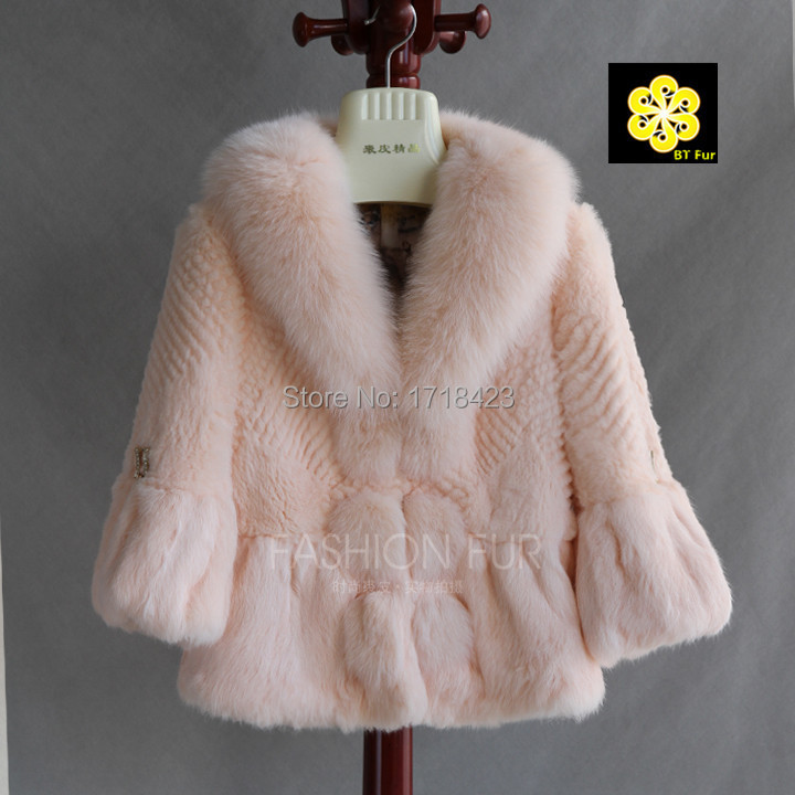 2015 arrive collection women real rabbit fur coat natural fox collar jacket elegant pink white warm big outwear - BT Fur NO1 store