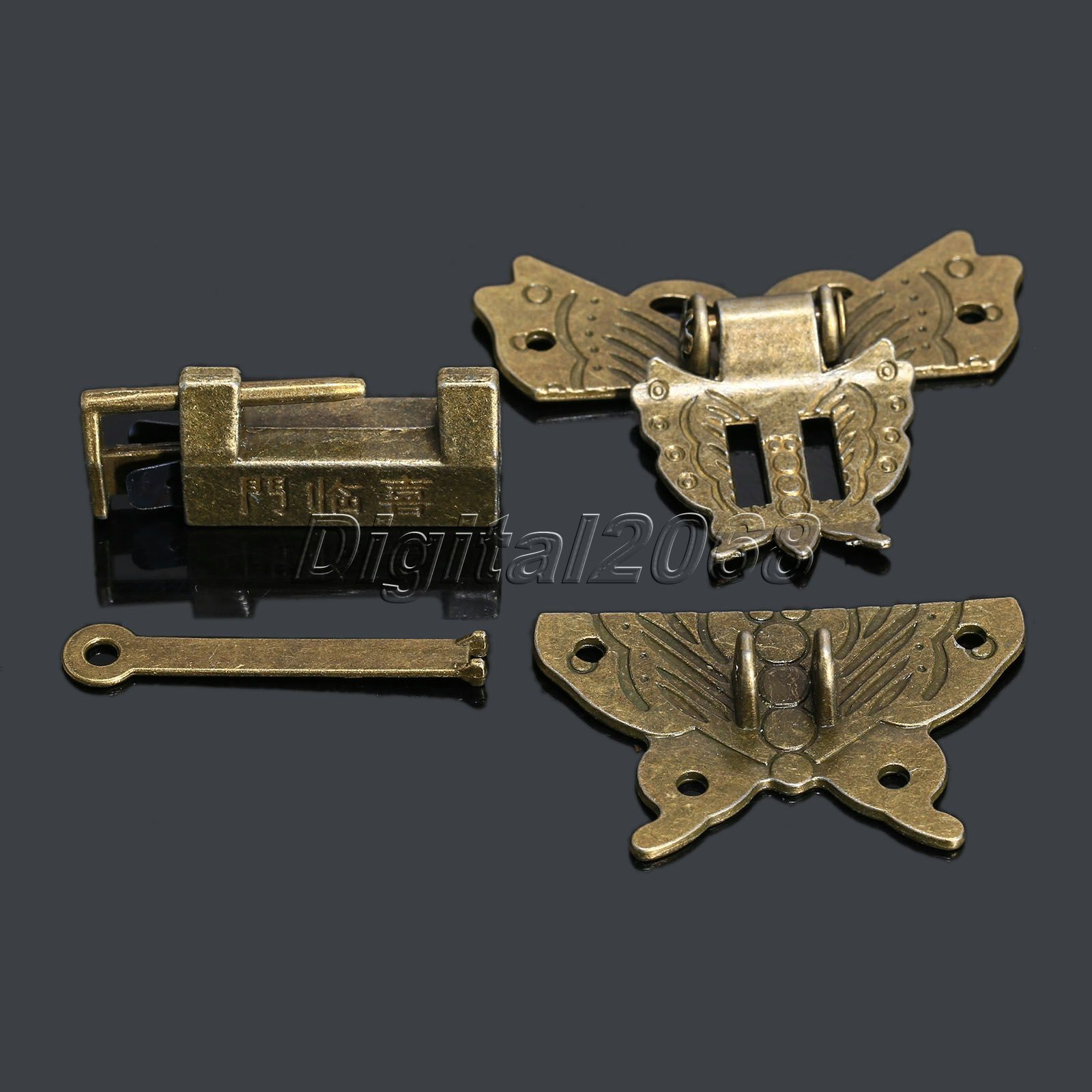 6Pcs Antique Latches Jewelry Gift Wooden Suitcase Case Hasp Antique Decorative Latch Hook Lock for Box Craft+Screws+Lock 59x55mm(China (Mainland))
