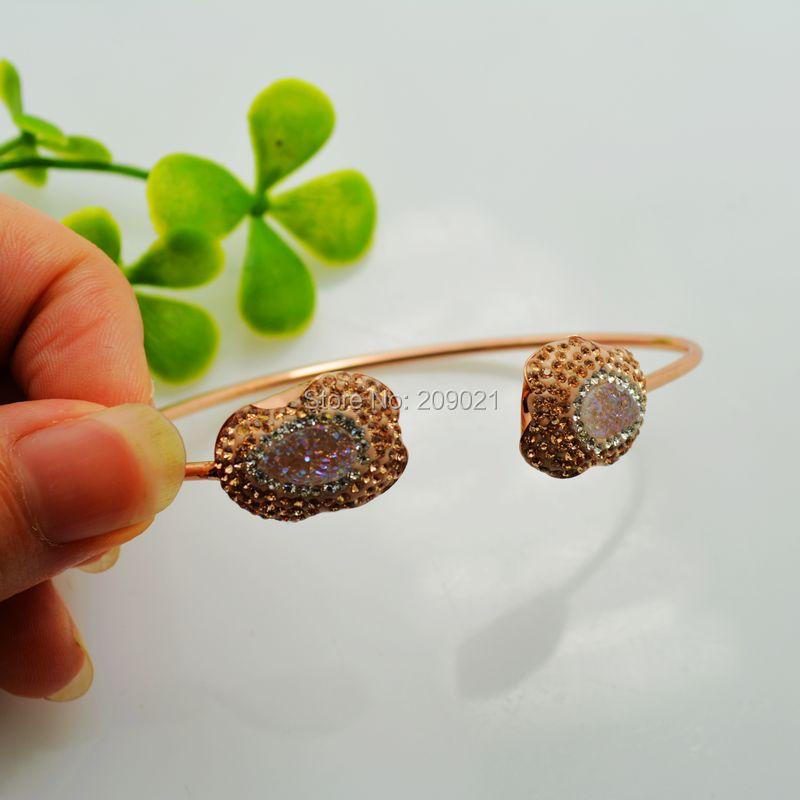 4pcs Gold Plated Pave Rhinestone Crystal Bangles Drusy Druzy Quartz Stone Bangle Bracelets Jewelry Finding
