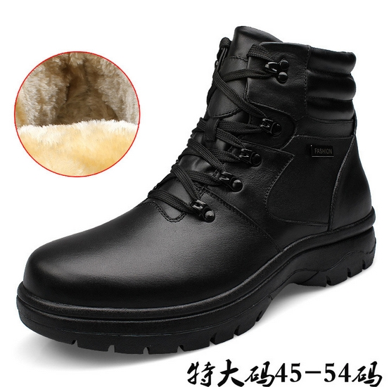 45-54 Especially Plus Size Men Winter Boots Fur Warm Shoes Plush Men Boots Genuine Leather Boots Winter Shoes Motorcycle Boots