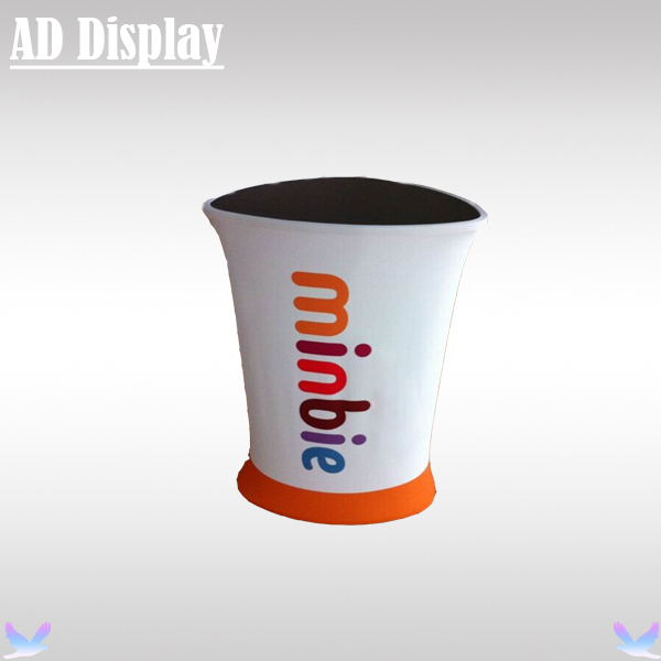 Portable Exhibition Booth Triangle High Promotion Table Display,Tradeshow Advertising Podium Counter With Tension Fabric Banner(China (Mainland))