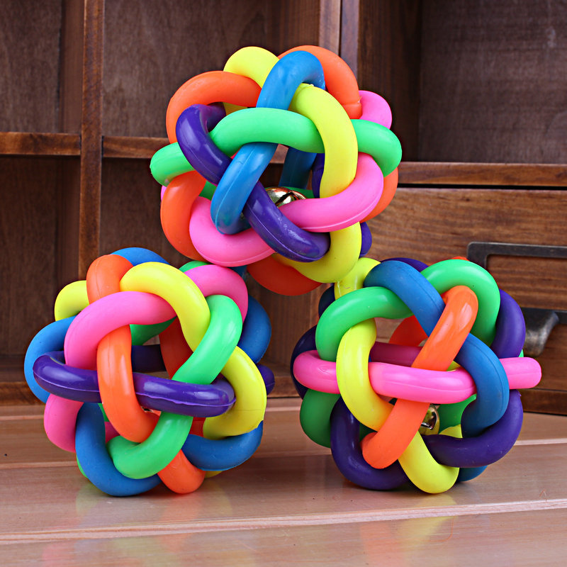 2015 Factory Outlets High Quality Colorful Rubber Dog Toy Ball, Pet Dog Toys With Bell For Small Medium Large Dog Free Shipping(China (Mainland))