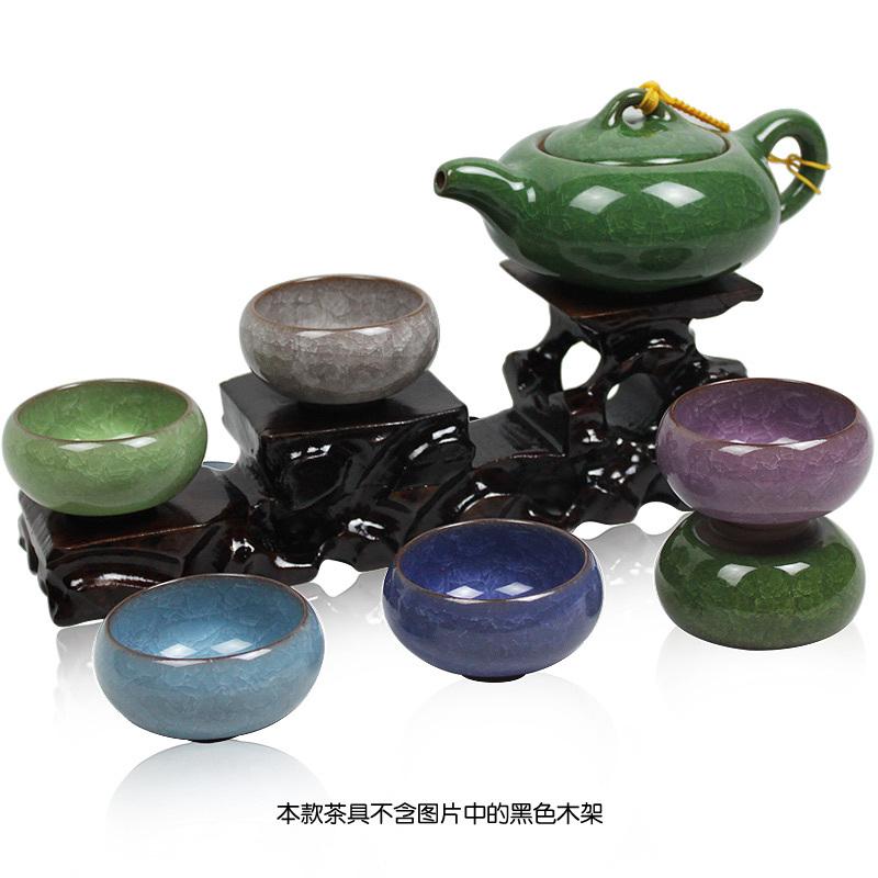 Freeshipping Calvings glaze tea set calvings cup 7pcs tea set gift tea set