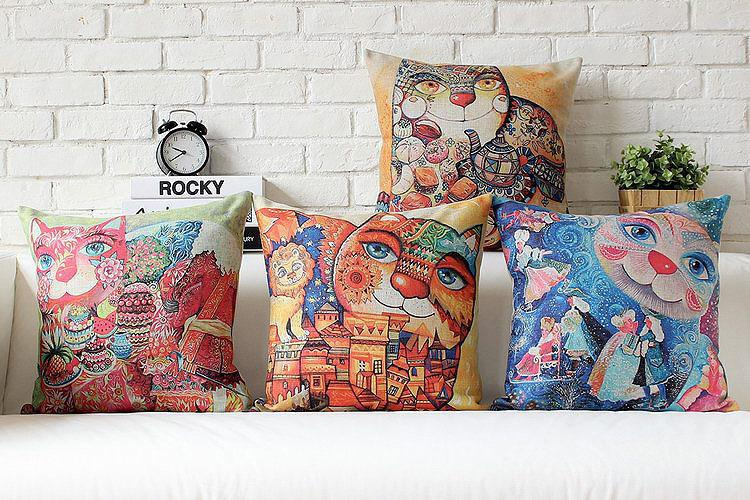 Free shipping throw pillow wedding decor linen fabric gift Hot sale 100% new 45cm World toilet day sofa cotton cushion cover