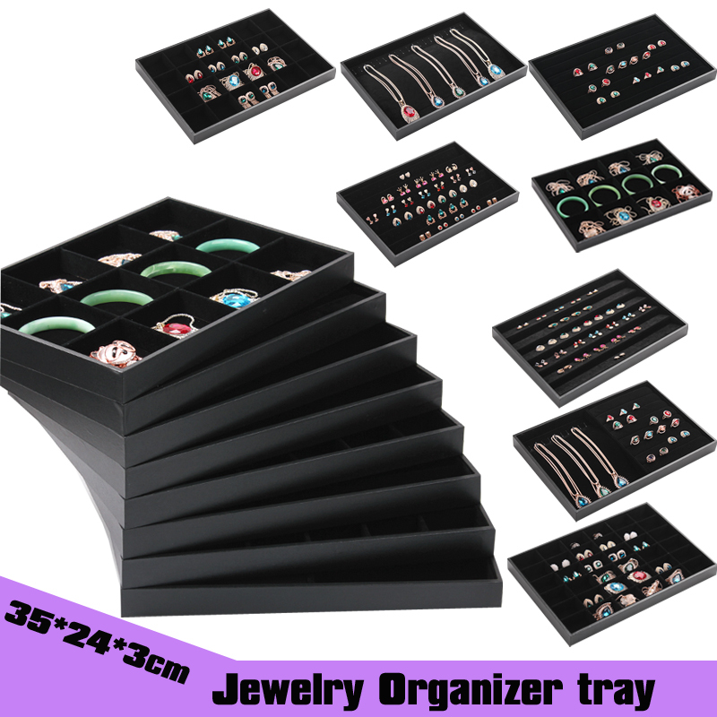 Free shipping wholesale 3PC 35*24cm black velvet jewelry tray display jewellery organizer(many types for free mix)(China (Mainland))