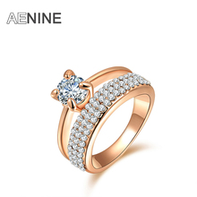 Buy AENINE Classic AAA Cubic Zirconia Finger Rings Pave Setting Austrian Crystal Rose Gold Color Wedding Rings Jewelry R150290250R for $1.40 in AliExpress store