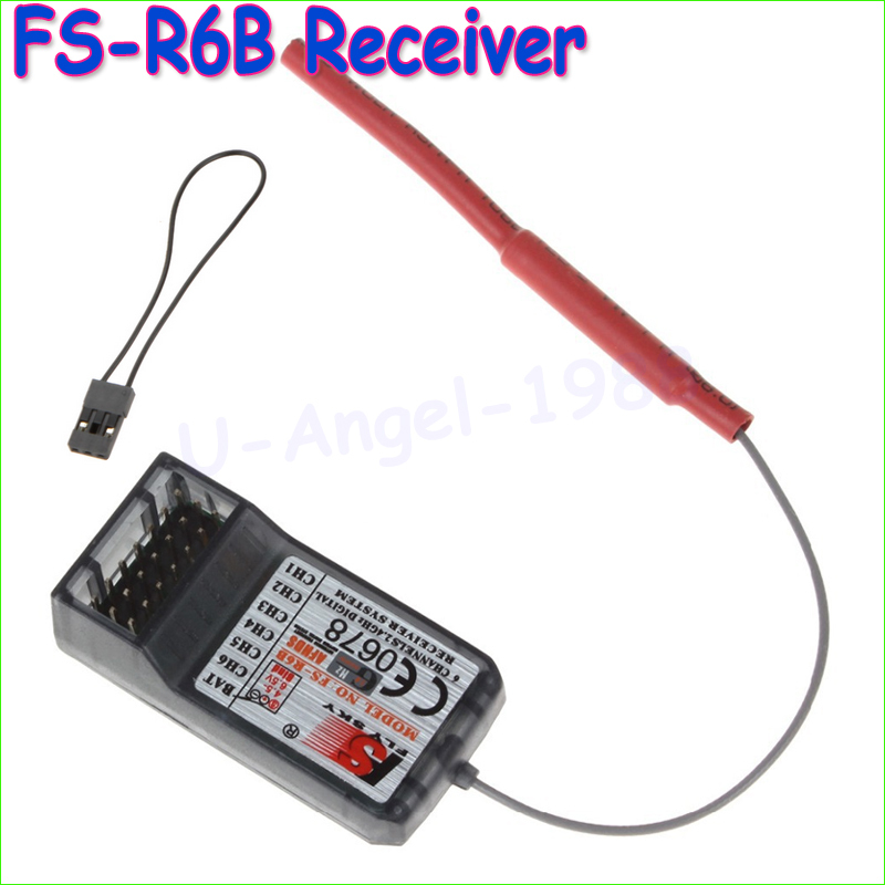 Wholeslae 1pcs Original FlySky FS-R6B FS R6B 2.4G 6CH Receiver For RC Transmitter FS T6 CT6B 9ch TH9X TH9B Drop freeship(China (Mainland))