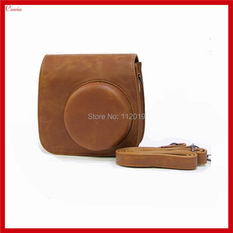 Brown Retro Leather Instax Mini 8 Bag Instant Polaroid Case Fujifilm Camera