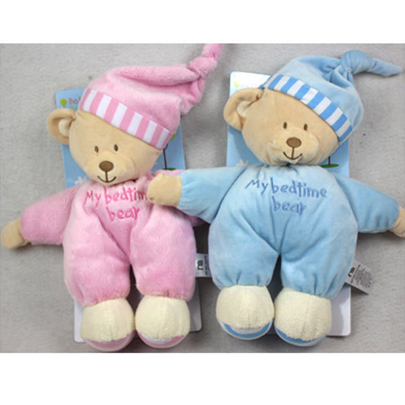 32cm High quality Sweet Cute Animal baby toys pink blue sleep appease baby plush doll soft Obedient Sleep Calm bear Doll(China (Mainland))