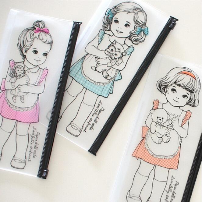 Korean kawaii Paper Doll Girl series Waterproof PVC pencil case/ Transparent pencil bag/Wash bag/clear pouch bag/ retail(China (Mainland))