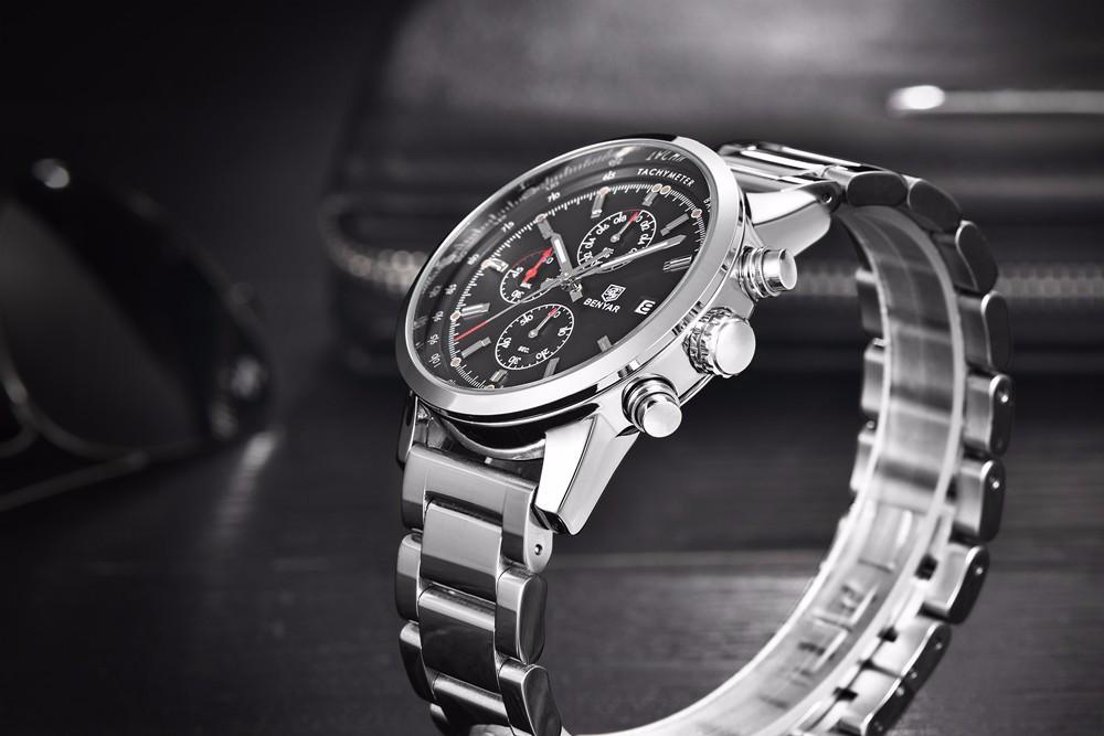 Мужская нержавеющей Стали Хронограф Часы Люксовый Бренд Спорт Водонепроницаемый Кварцевые Часы Мужчины Военный Наручные Часы Армейцы Часы reloj