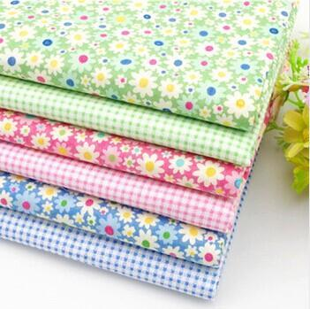 48*48cm Fresh lovely blue green floral Plaid cotton twill handmade DIY doll kids fabric cloth - Constance's boutique store
