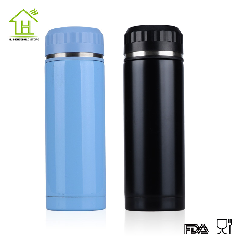 Fashion black outdoor stainless steel thermos Vacuum Thermo flask termica infantil bottle mug mini hot cold water garrafa 450ML(China (Mainland))