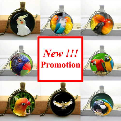 2015 New Fashion glass dome necklace Parrot Necklace Bird Pendant cute animal Glass Picture Pendant(China (Mainland))