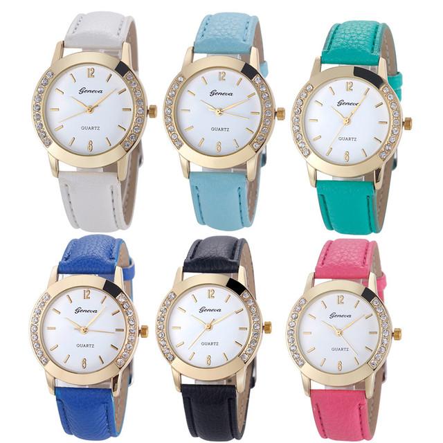 Zegarek damski GENEVA z kryształkami różne kolory