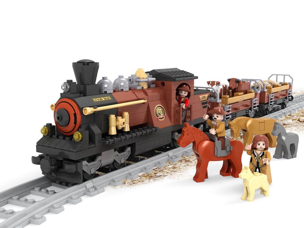 Transportation Building Block Sets Compatible lego Adventure train 3D Construction Bricks Educational Hobbies Toys Kids