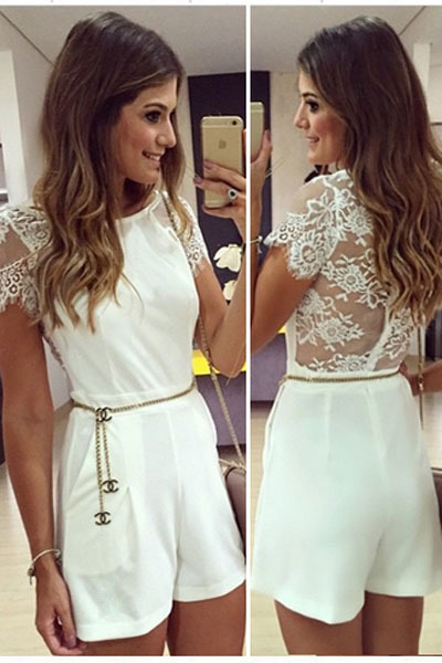 2015 New Fashion Rompers Womens Jumpsuit Sexy White Lace Sexy Scuba Knit Romper with Waistbelt LC60115(China (Mainland))