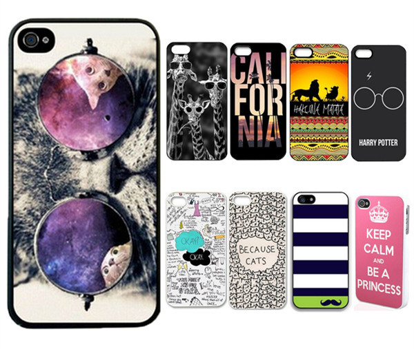 2014 Retail New Brand 9 styles Cute Animal Cat With Glasses Custom Printed Hard Plastic phone case for iphone 5 for iphone 5s(China (Mainland))