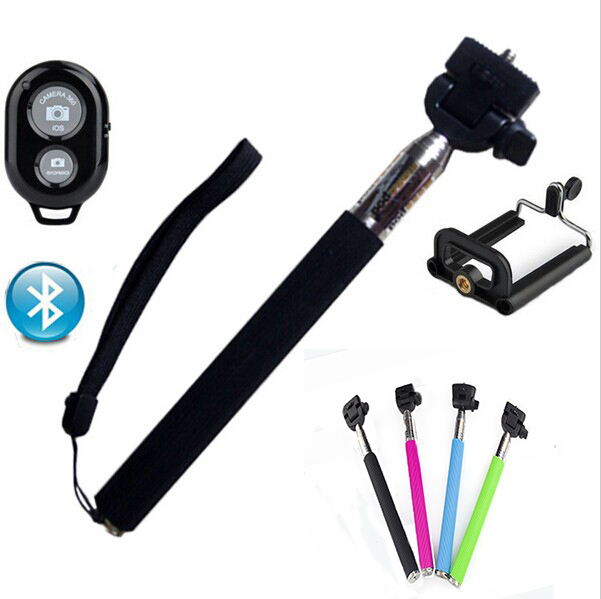 2015 Professional Universal Extendable Monopod Selfie Stick +Phone Camera Self Portrait Clip Holder Bluetooth For Android iOS(China (Mainland))