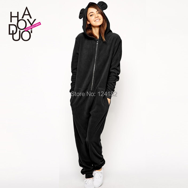 2015 spring and summer ears with a hood pocket one-piece sweatshirt casual jumpsuit(China (Mainland))