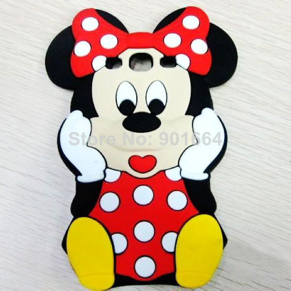 3D Cartoon Case Minnie Mouse Silicone Phone Cover For iPhone 5 5S 5C 4 4S Cases Samsung Galaxy S4 Mini S3 S5 S2 Grand Duos I9082(China (Mainland))