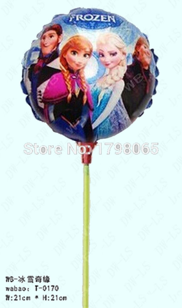 New arrivel 60pcs/lot 21*21cm foil balloon with stick and cup for childs toys party foil balloon